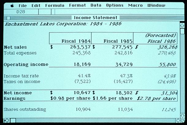 Primera versión de Microsoft Excel para Macintosh