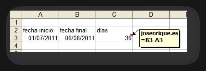 Captura de Excel con ejercicio de fechas