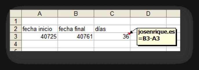 Captura con ejercicio de fechas en Excel