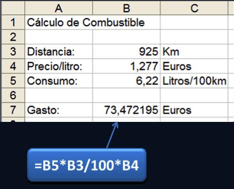 Calculo directo de gasto de combustible con Excel