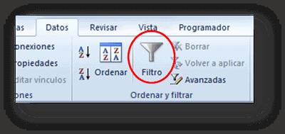 Ordenar y filtrar: Filtro