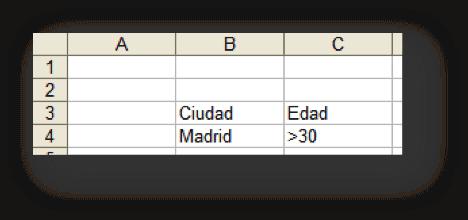 rango de criterios para filtro avanzado