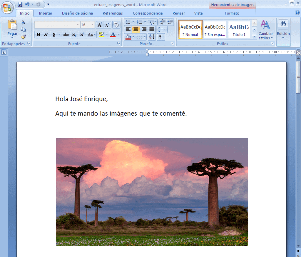 Aspecto inicial documento Word