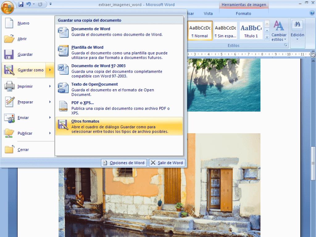 Guardar fichero word como html