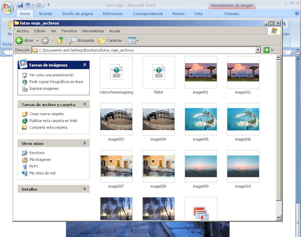 Carpeta con las imágenes del documento en archivos separados