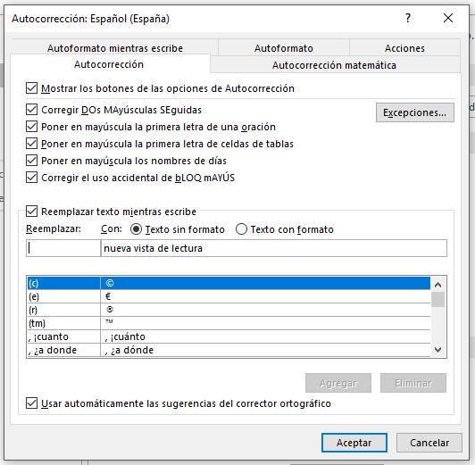 Opciones de Autocorrección en word