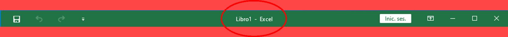 Barra de título Excel