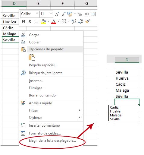 Elegir de la lista desplegable en Excel