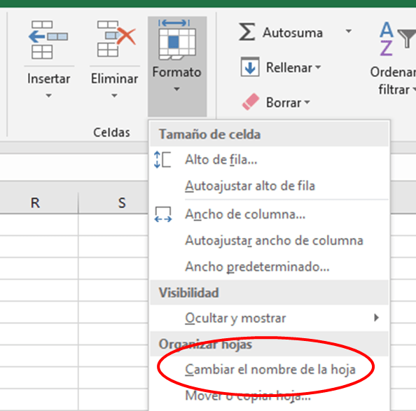 Cambiar el nombre de la hoja en Excel
