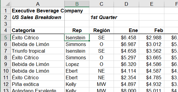 Ejemplo para inmovilizar paneles en Excel