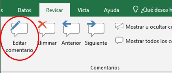 Modificar comentario en Excel