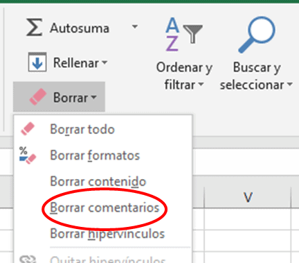 Borrar comentarios en Excel