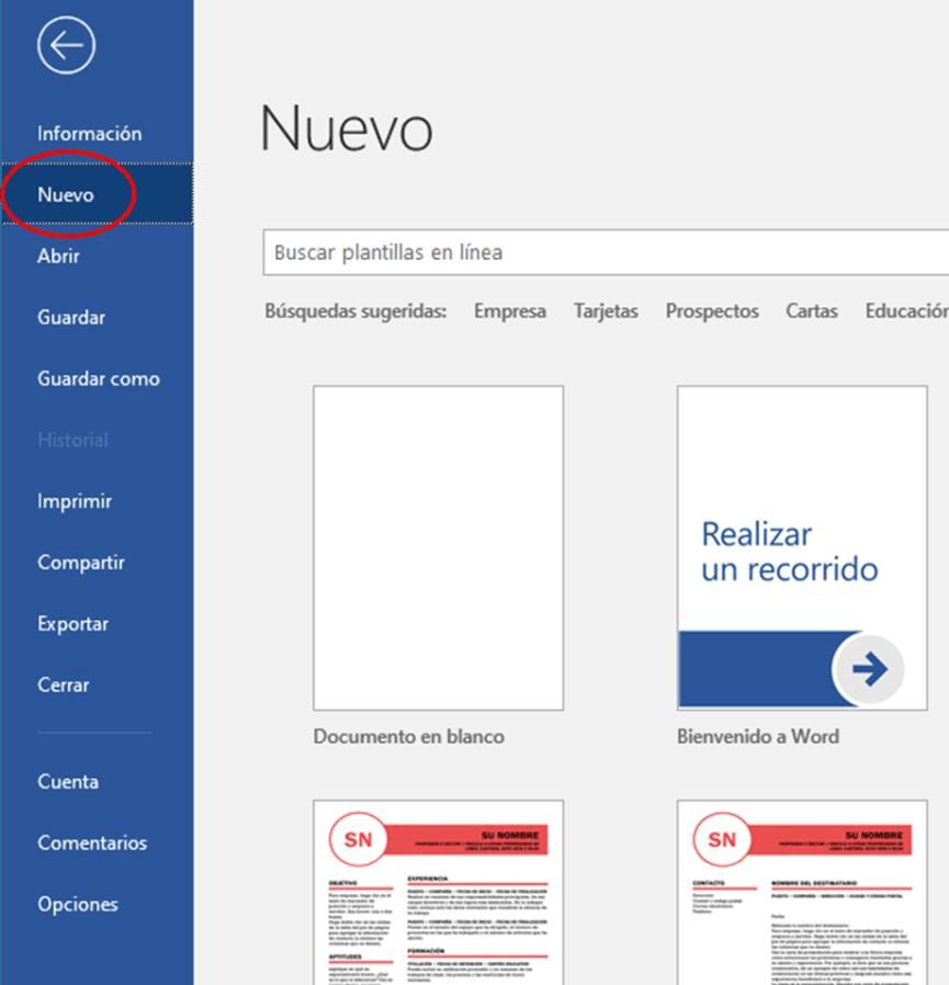 Crear un nuevo documento en Word